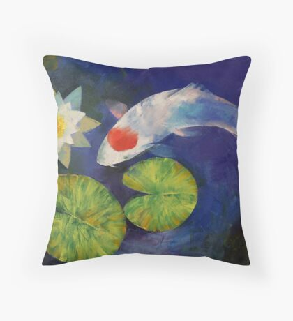 Tancho Koi and Water Lily Throw Pillow