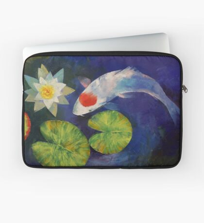 Tancho Koi and Water Lily Laptop Sleeve