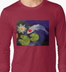 Tancho Koi and Water Lily Long Sleeve T-Shirt