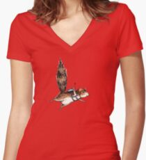 Skydiver Squirrel Women's Fitted V-Neck T-Shirt