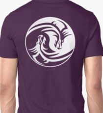 Yin Yang, Dragon, Doctormo, Dring, Drang, Eastern, WHITE on Deep Purple T-Shirt