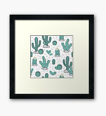 Pattern with cacti Framed Print