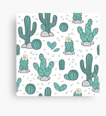 Pattern with cacti Canvas Print