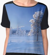 Snow covered trees Women's Chiffon Top
