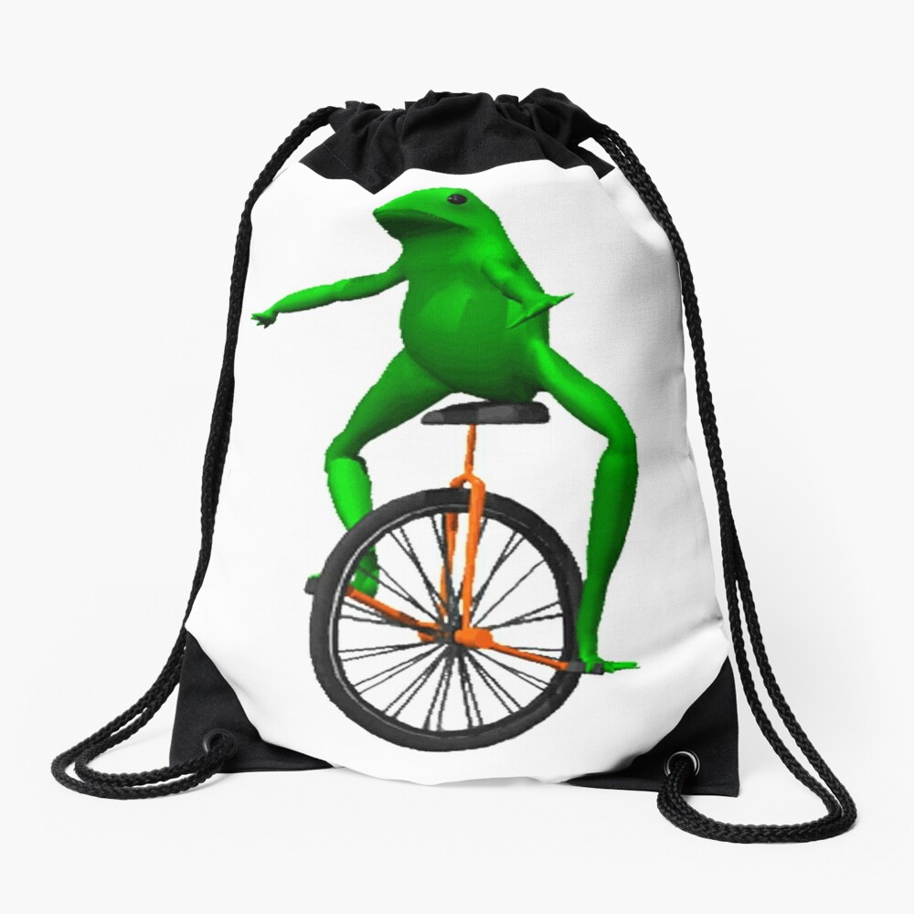 dat boi meme / unicycle frog  Drawstring Bag