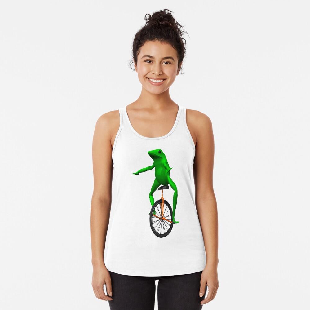 dat boi meme / unicycle frog  Racerback Tank Top