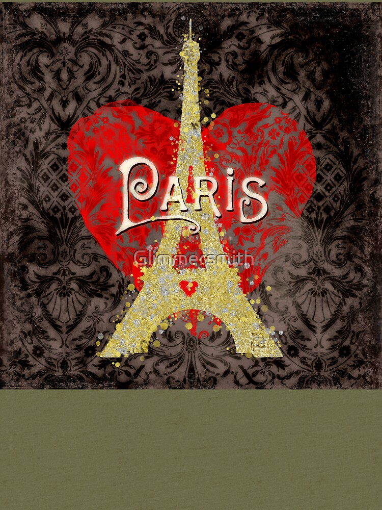 Travel Paris, modern vintage damask travel poster by Glimmersmith