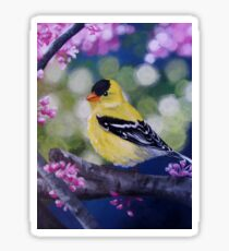 Yellow Finch Among the Blossoms Sticker