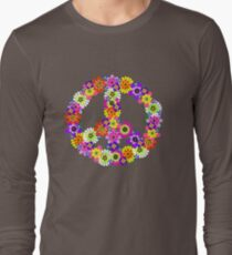 Peace Sign Floral Long Sleeve T-Shirt