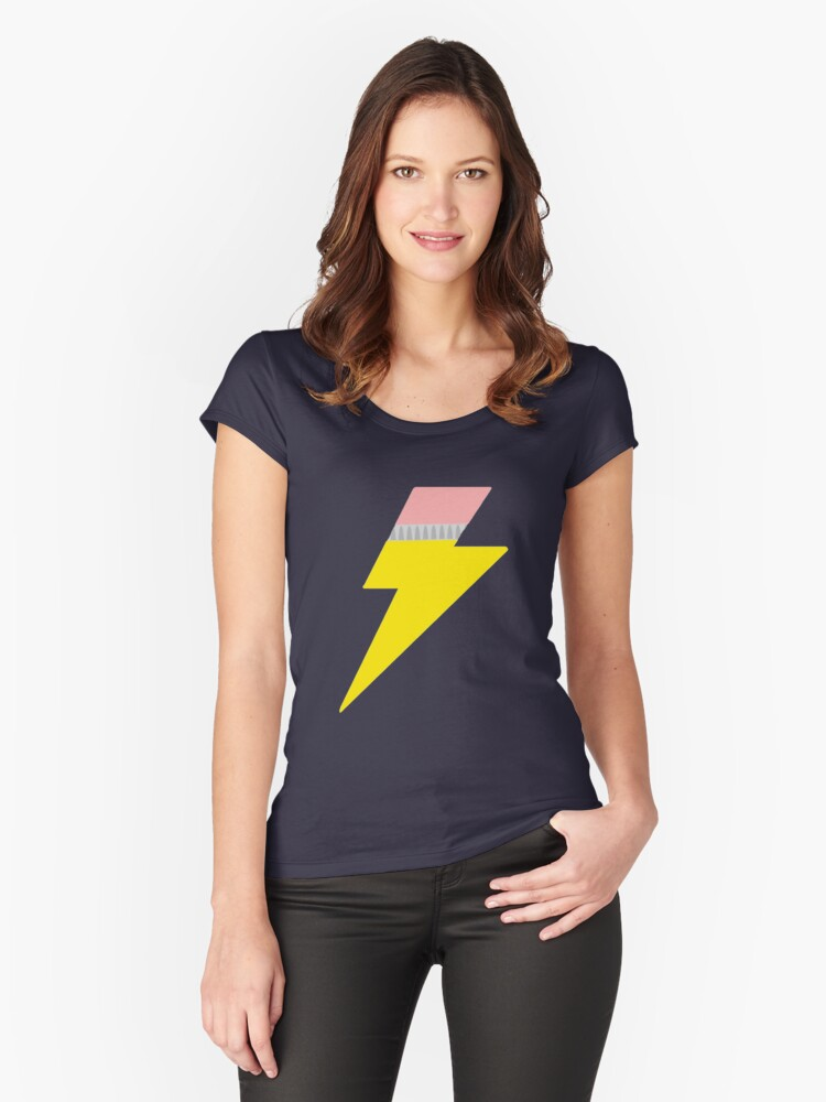 Pencil Bolt Women's Fitted Scoop T-Shirt Front
