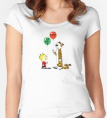 calvin and hobbes ballon Women's Fitted Scoop T-Shirt