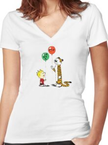 calvin and hobbes ballon Women's Fitted V-Neck T-Shirt