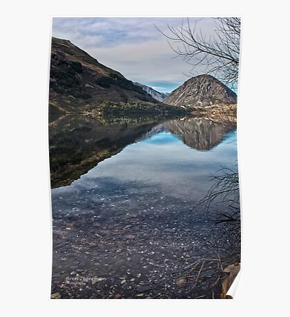 Reflections on Lake Selfe, Canterbury, New Zealand Poster
