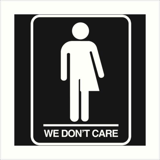 Trans Bathroom Symbol We Don't Care Art Prints By Queeradise Classy Bathroom Symbol