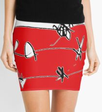 BARBED RED WHITE BLACK Mini Skirt