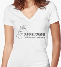 Anime was a mistake Women's Fitted V-Neck T-Shirt