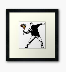 Banksy - Rage, Flower Thrower Framed Print