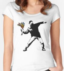 Banksy - Rage, Flower Thrower Women's Fitted Scoop T-Shirt
