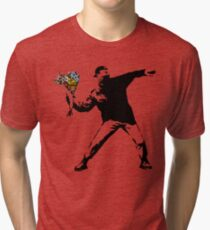 Banksy - Rage, Flower Thrower Tri-blend T-Shirt