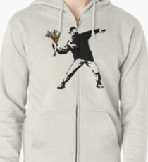 Banksy - Rage, Flower Thrower Zipped Hoodie