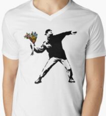 Banksy - Rage, Flower Thrower Men's V-Neck T-Shirt