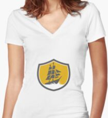 Sailing Galleon Tall Ship Crest Retro Women's Fitted V-Neck T-Shirt