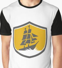 Sailing Galleon Tall Ship Crest Retro Graphic T-Shirt
