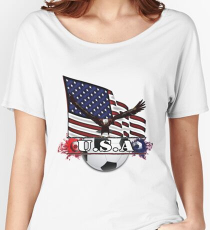 Patriotic USA Soccer Ball Women's Relaxed Fit T-Shirt