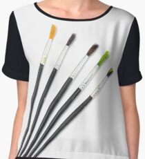 set of brushes for drawing isolated  Women's Chiffon Top
