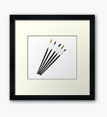 set of brushes for drawing isolated  Framed Print