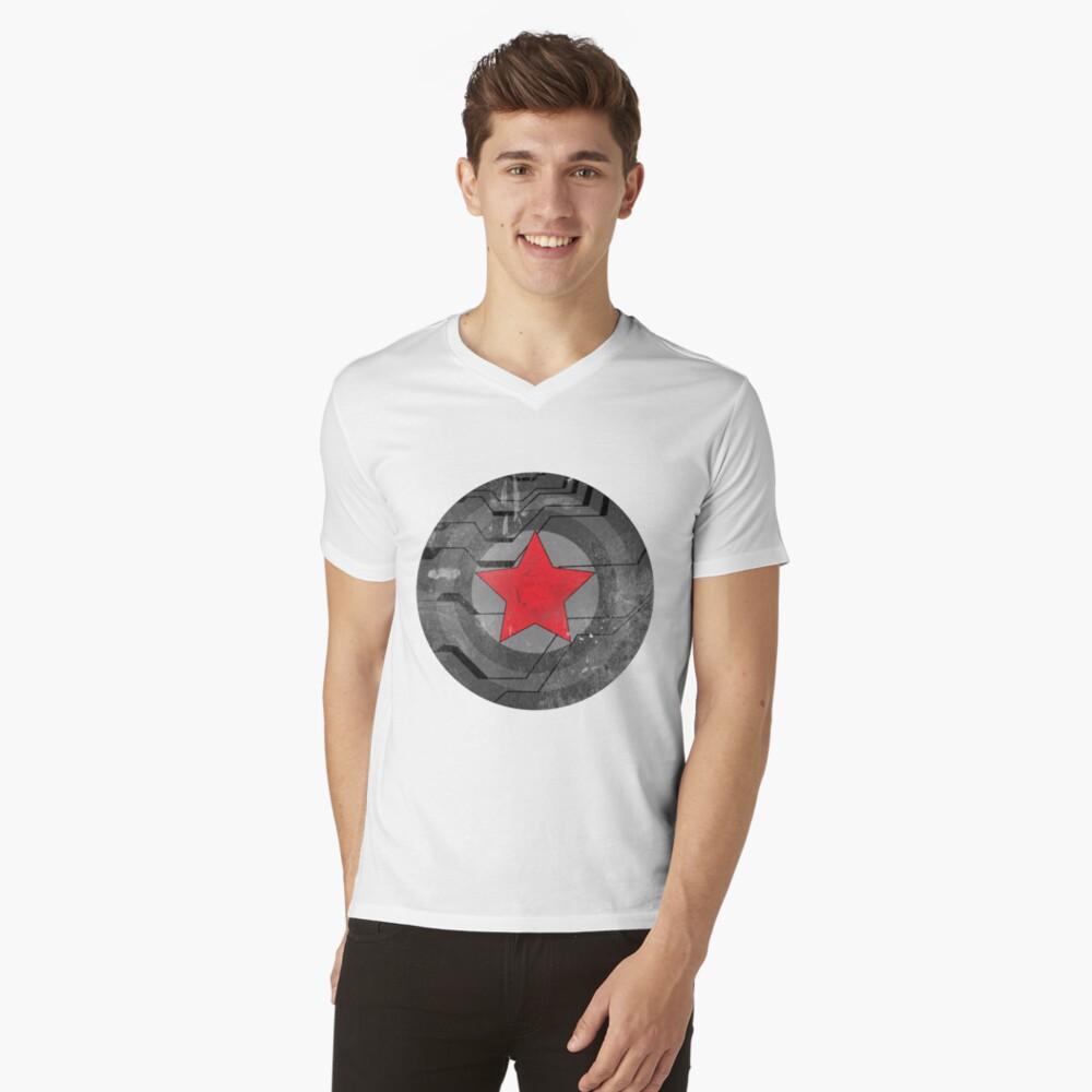Winter Solider Schild T-Shirt mit V-Ausschnitt