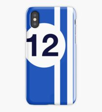 French blue and white racing stripes iPhone Case