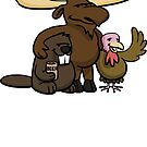 A moose, beaver and turkey walk into a bar... by Cameron Porter