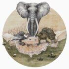 Elephant turtle condor tea time by Ruta Dumalakaite