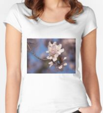 Pink Spring - Sunlit Blossoms and Blue Sky Women's Fitted Scoop T-Shirt