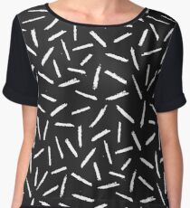 Black & White Scribble Confetti Pattern Women's Chiffon Top