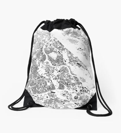 Vienna Map Schwarzplan Only Buildings Urban Plan Drawstring Bag