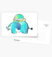 Turtle and Elephant Watercolor Greeting Card