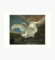 Vintage famous art - Jan Asselyn - The Threatened Swan Art Print