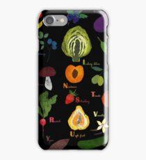 Fruit and vegetables English alphabet on dark iPhone Case/Skin