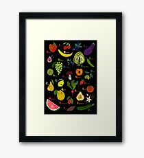 Fruit and vegetables English alphabet on dark Framed Print
