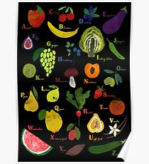 Fruit and vegetables English alphabet on dark Poster