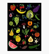 Fruit and vegetables English alphabet on dark Photographic Print