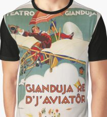 Vintage famous art - Carlo Nicco  - Gianduja Re D J Aviator Poster Graphic T-Shirt