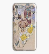 Vintage blue art - Charles Rennie Mackintosh  - Mont Louis - Flower Study iPhone Case/Skin