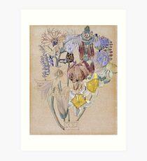 Vintage blue art - Charles Rennie Mackintosh  - Mont Louis - Flower Study Art Print