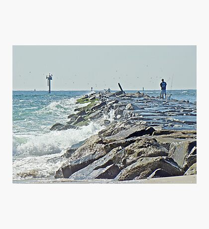 Fishing the Jetty - Island Beach State Park   NJ Photographic Print