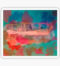 Abstract Laundry Boat in Blue, Green, Orange and Pink Sticker