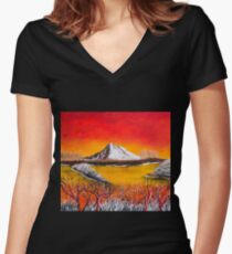 white mountain sky on fire Women's Fitted V-Neck T-Shirt