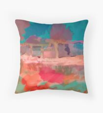 Abstract Art Throw Pillow in Blue, Green, Orange and Pink Throw Pillow